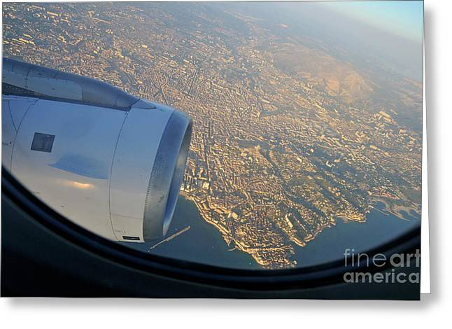 Marseille City From An Airplane Porthole Greeting Card by Sami Sarkis