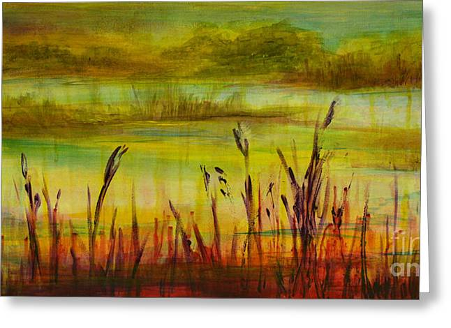 Marsh View Greeting Card by Sandra Taylor-Hedges