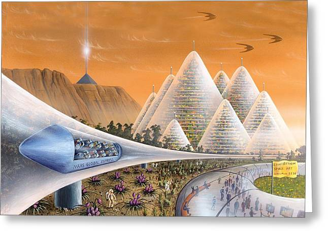 Martian Colony Art Exhibition, Artwork Greeting Card by Richard Bizley