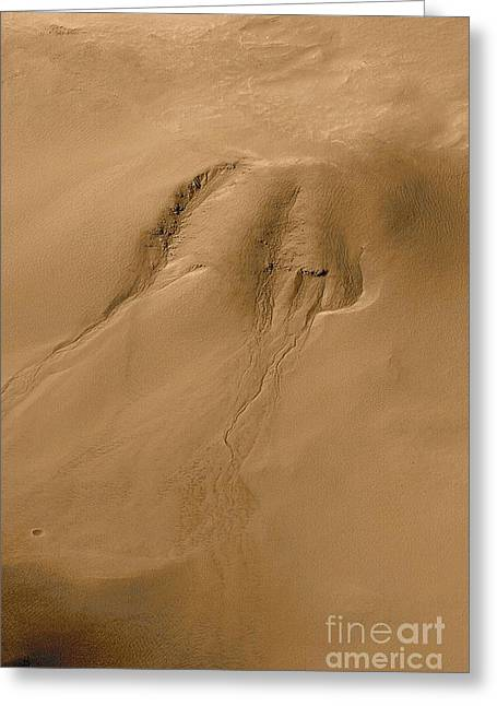 Martian Water Erosion Greeting Card