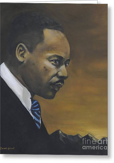Greeting Card featuring the painting Martin Luther King Jr - From The Mountaintop by Dwayne Glapion