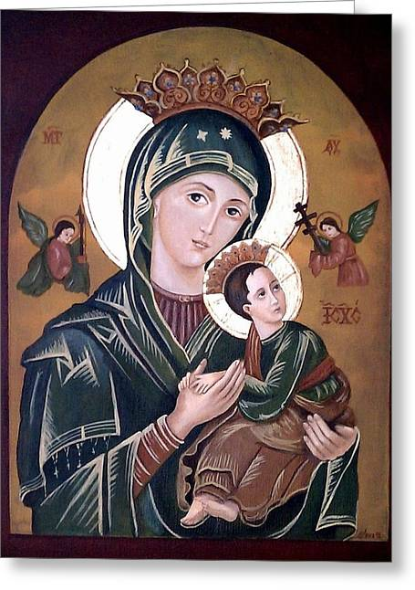 Mary And Jesus Greeting Card by Lena Day