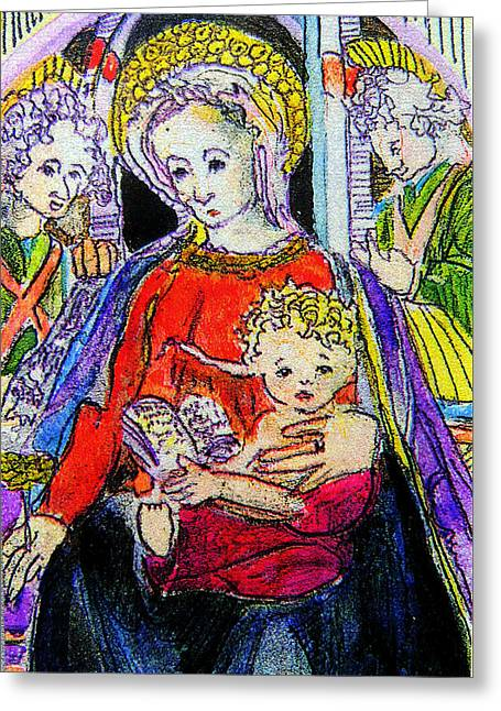 Mary Jesus And The Saints Greeting Card by Mindy Newman