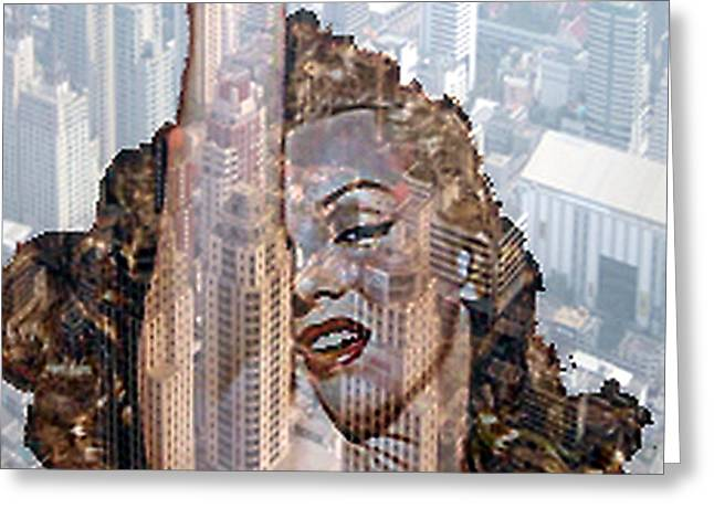 Marylin And City Greeting Card