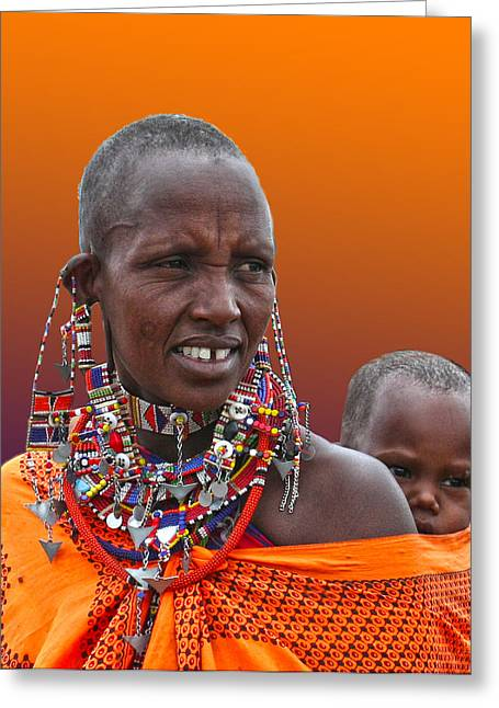 Masai Mother And Child Greeting Card