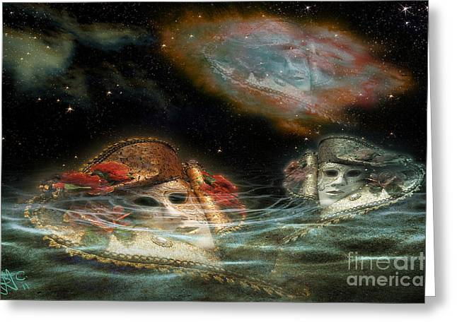 Mask Nebulae Greeting Card by Rosa Cobos