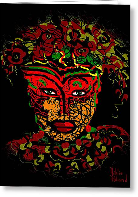 Masked Beauty Greeting Card by Natalie Holland