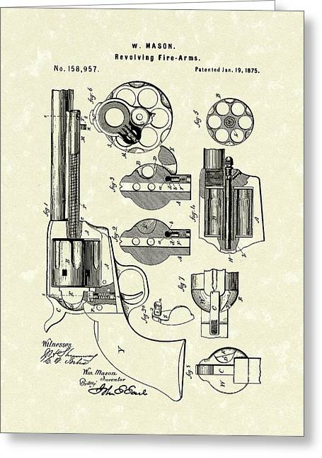 Mason Revolving Fire-arm 1875 Patent Art Greeting Card