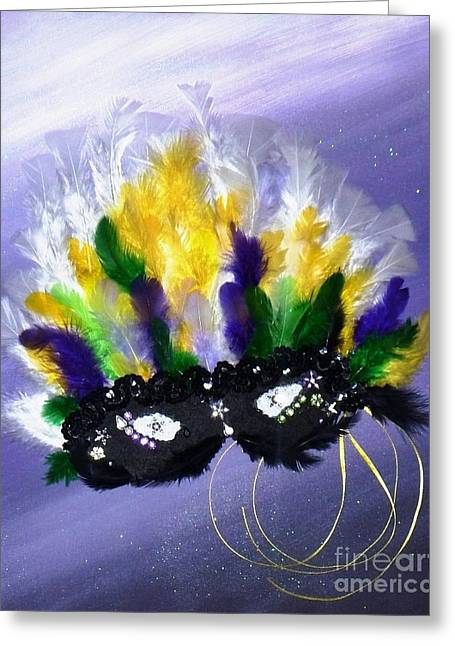 Greeting Card featuring the painting Masque Over Bourbon Street by Alys Caviness-Gober