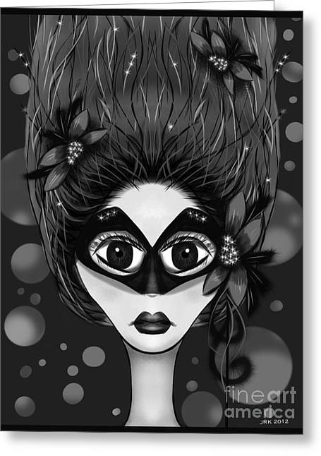 Masquerade Bw Greeting Card
