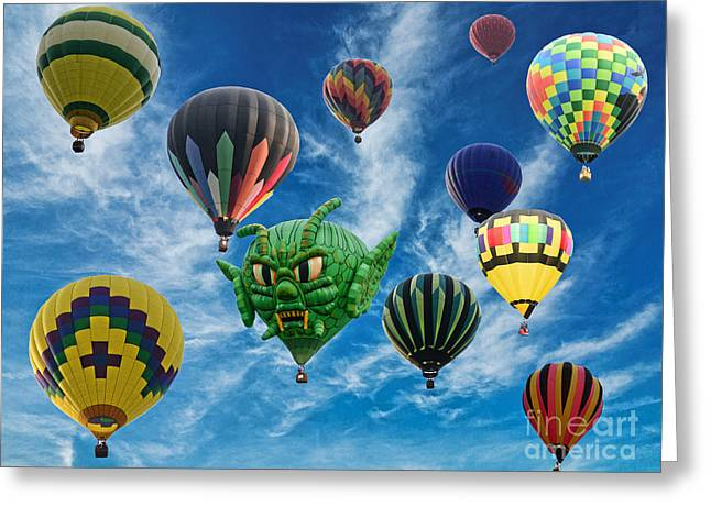 Mass Hot Air Balloon Launch Greeting Card by Paul Ward