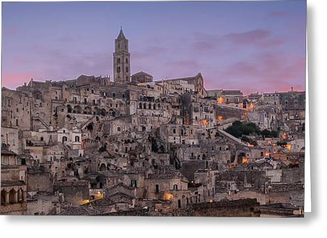 Matera Skyline Greeting Card by Michael Avory