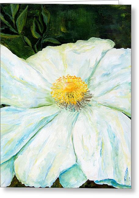 Greeting Card featuring the painting Matilija Poppy by Terry Taylor