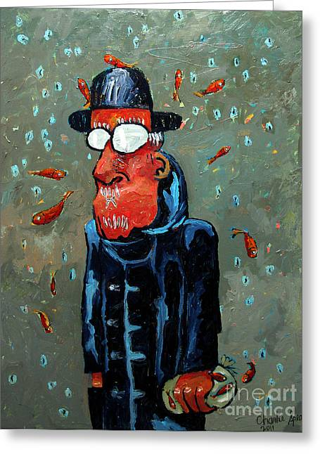 Matisse Juggling Fish In The Rain In His Brain Greeting Card by Charlie Spear