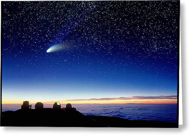 Mauna Kea Observatory & Comet Hale-bopp Greeting Card by David Nunuk