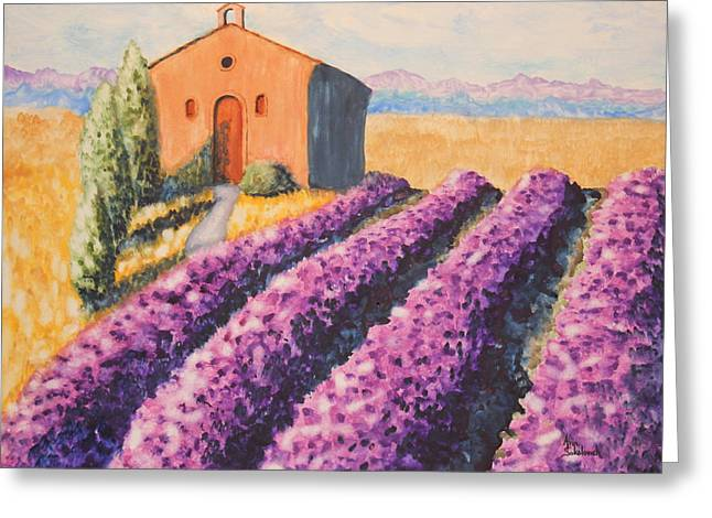 Mausoleum And Lavender Greeting Card by Ann Sokolovich