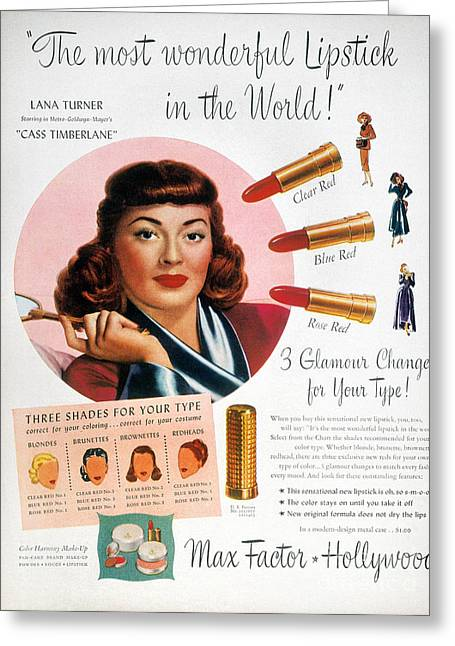Max Factor Lipstick Ad Greeting Card by Granger