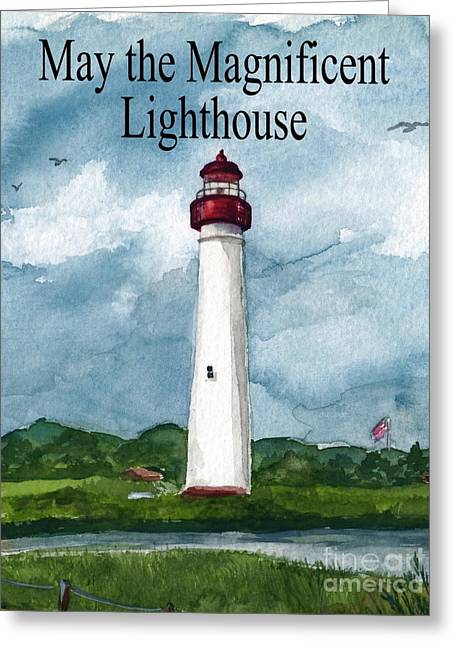 May The Magnificent Lighthouse  Greeting Card by Nancy Patterson