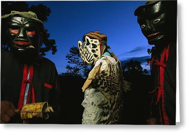 Maya Dancers Dressed As Hunters Greeting Card by Steve Winter
