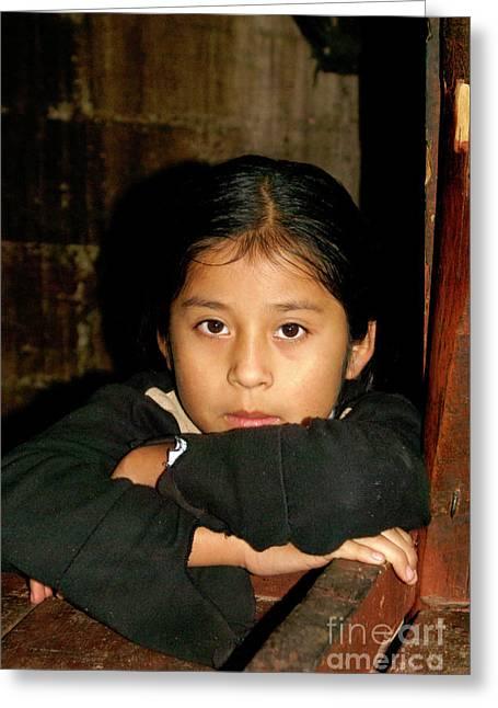 Greeting Card featuring the photograph Maya Girl Coban Guatemala by John  Mitchell