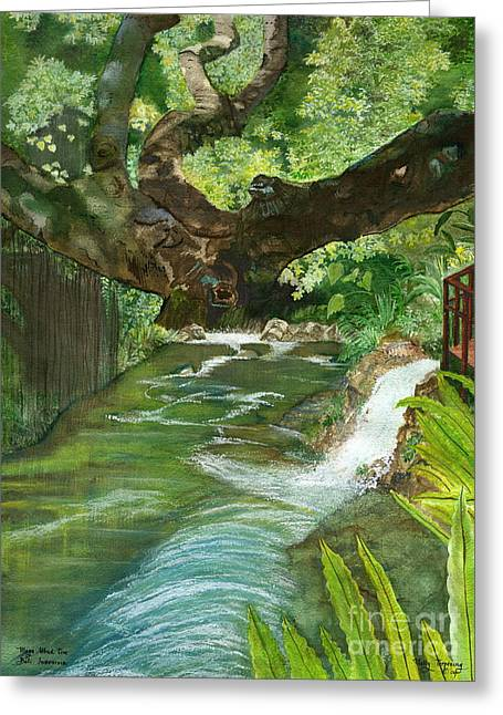 Greeting Card featuring the painting Maya Ubud Tree Bali Indonesia by Melly Terpening