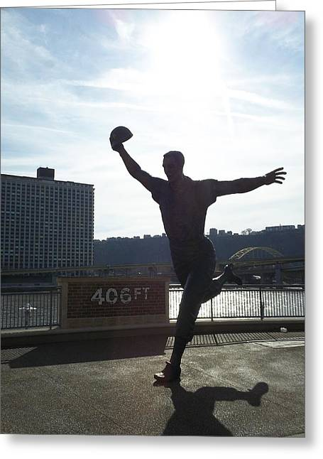 Mazeroski Statue In Pittsburgh Greeting Card by Tiffney Heaning