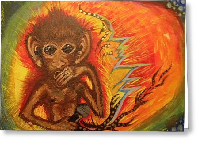 Mc Monkey Greeting Card by Zitlalli Rodriguez