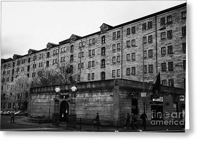 Mcchuills Pub And Converted Bell Street Railway Warehouse Collegelands Glasgow Scotland Uk Greeting Card by Joe Fox