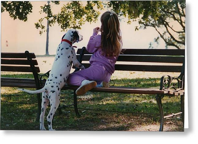 Greeting Card featuring the photograph Me And A Dog Named Spot by Tanya Tanski