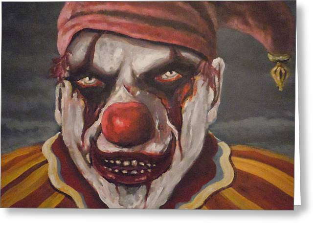Greeting Card featuring the painting Meat Clown by James Guentner