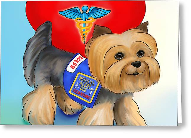 Medical Alert Yorkie Greeting Card