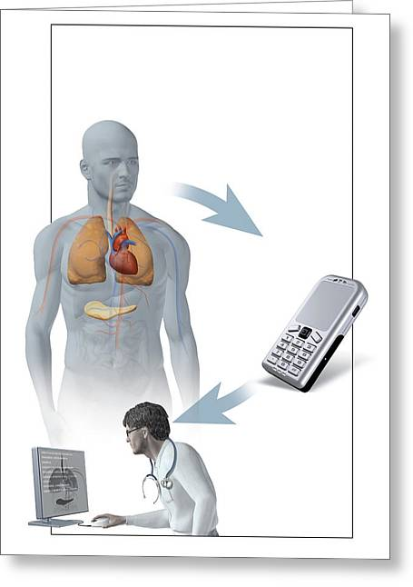 Medical Monitoring Using A Mobile Phone Greeting Card by Claus Lunau