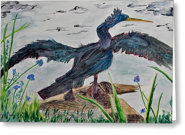 Anhinga-drying Out Greeting Card by Mickey Krause
