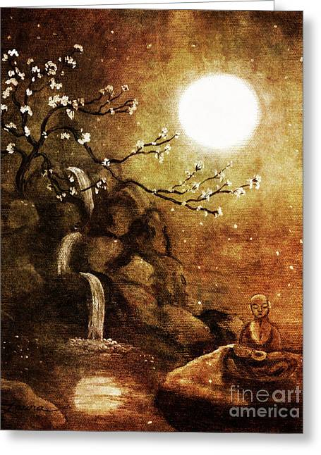 Meditation Beyond Time Greeting Card by Laura Iverson