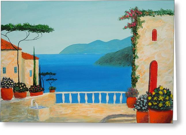 Mediterranean Fantasy Greeting Card by Larry Cirigliano