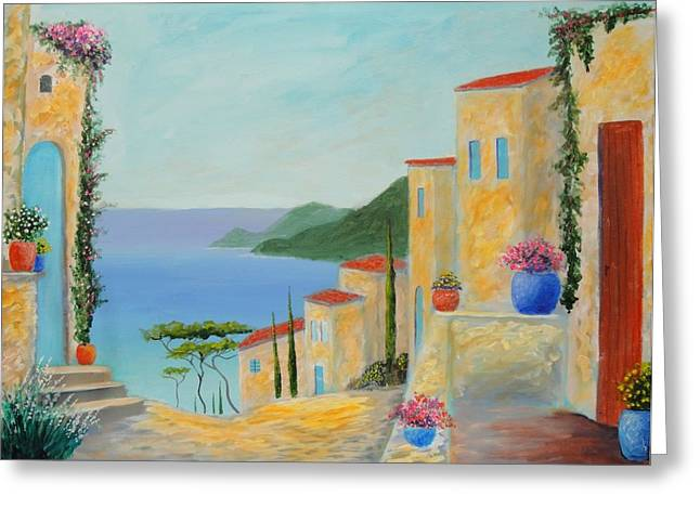 Mediterranean Haven Greeting Card by Larry Cirigliano