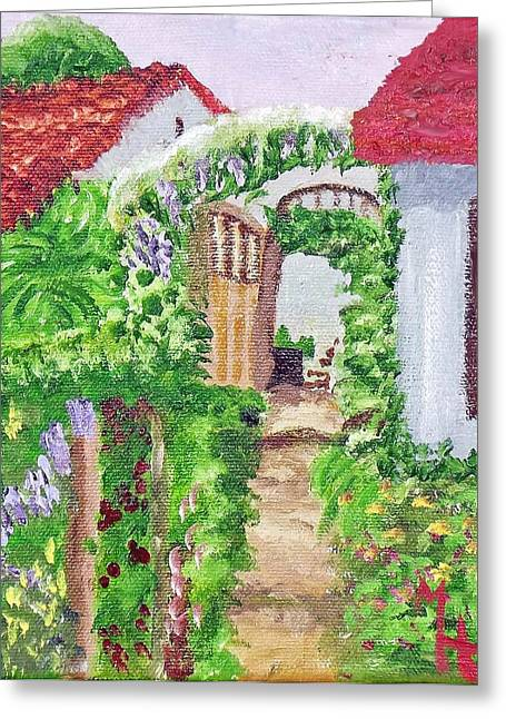 Greeting Card featuring the painting Mediterranean Walkway by Margaret Harmon
