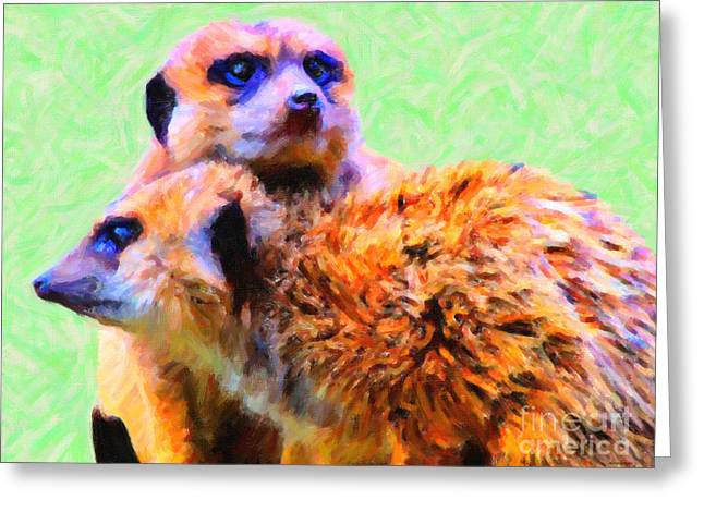 Meerkats . 7d4176 Greeting Card by Wingsdomain Art and Photography