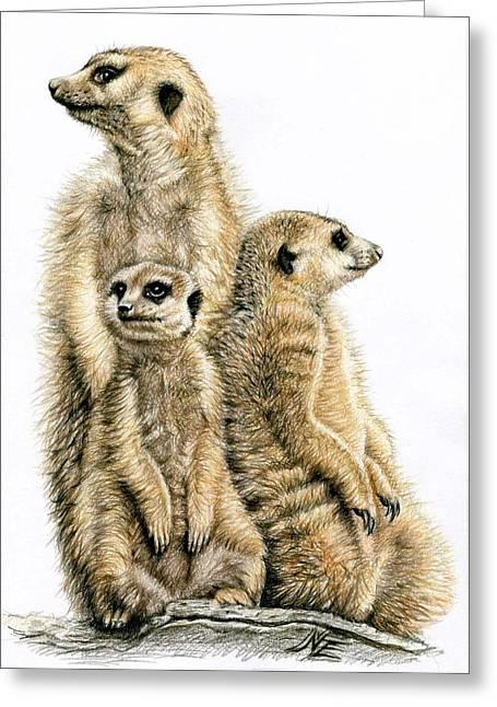 Meerkats Greeting Card by Nicole Zeug