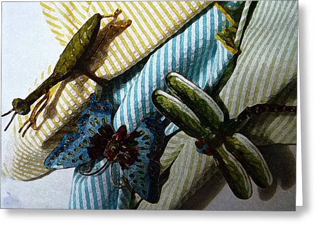 Meeting Of Insects Greeting Card by Anke Wheeler