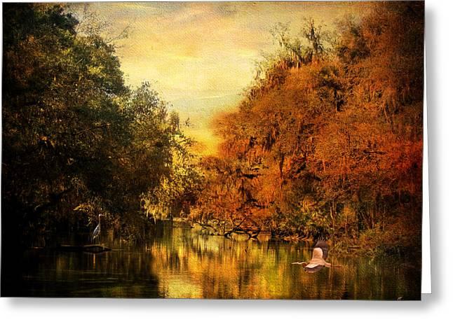 Meeting Of The Seasons Greeting Card by Jai Johnson
