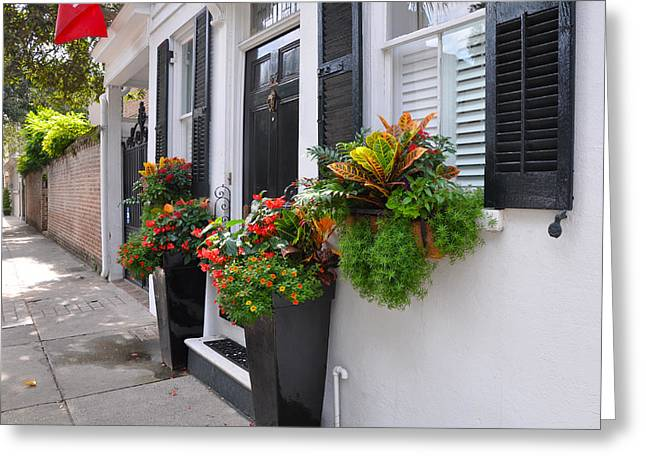 Meeting Street Window Box 2 Greeting Card by Lori Kesten