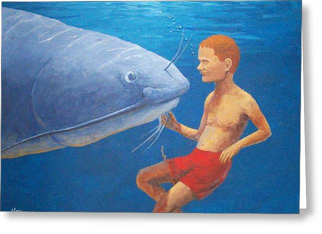 Meeting With The Giant Catfish Greeting Card by John Hoesman