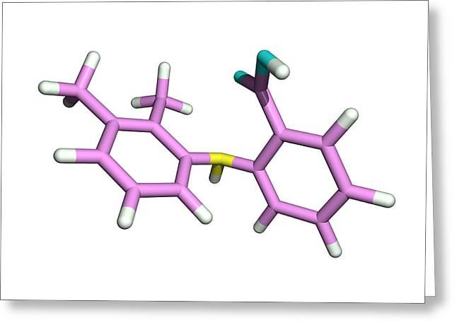 Mefenamic Acid Drug Molecule Greeting Card by Dr Tim Evans