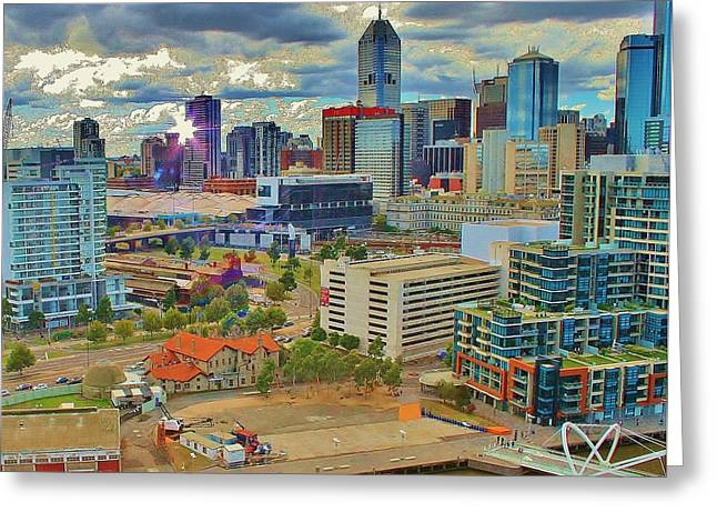 Melbourne City Blocks Of Color Greeting Card