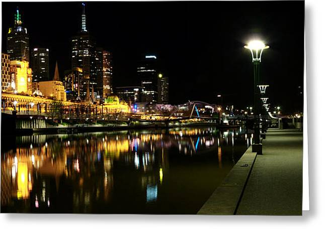 Melbourne Night Greeting Card by John Monteath
