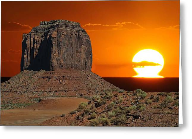 Melting Into The Horizon At Monument Valley National Park Greeting Card