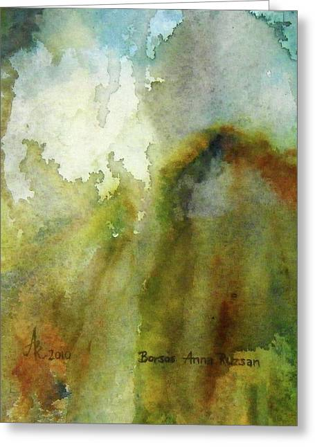 Greeting Card featuring the painting Melting Mountain by Anna Ruzsan