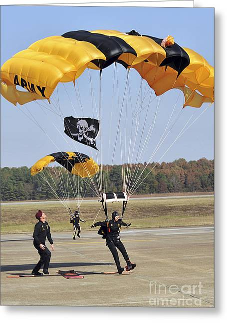 Members Of The Golden Knights Parachute Greeting Card by Stocktrek Images