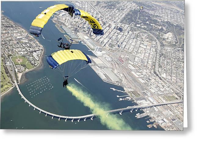 Members Of The U.s. Navy Parachute Team Greeting Card by Stocktrek Images